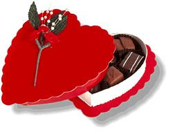 Valentine chocolate in a red heart shaped box.