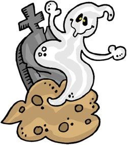 Short funny jokes: Funny drawing of happy ghost coming up from grave at graveyard.