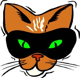 Weird but true facts: Funny drawing of a cat in a mask.