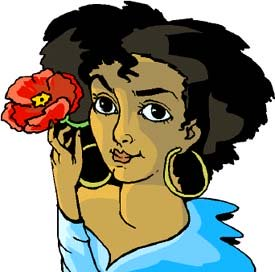Funny facts: Drawing of woman with flower behind her ear.